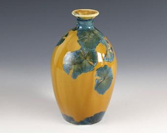 "Bottle Mini - Crystalline Glaze - ""Blue Orange"""