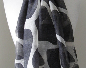 Black and white voile scarf  - Long and light weight scarf for spring, summer and fall, Gift for her, Mother's day gift
