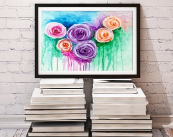 "Flower painting, Abstract Floral art, Roses, Peonies Flowers, Modern wall art, Home decor 11"" x 14"" by Nikki chauhan."