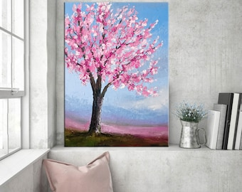 Cherry blossom painting, Palette knife Tree Floral art, Contemporary Oil painting, Abstract art, Impasto Texture Flowers, Modern wall art.