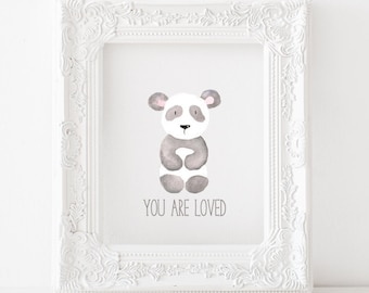 Panda Printable Panda Print, Panda nursery print, Panda nursery decor, Panda nursery printable, You are loved Print, You are loved printable
