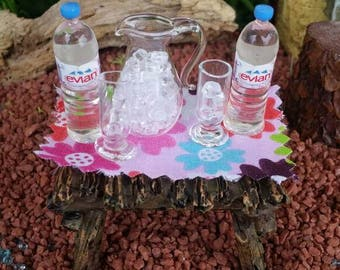 Miniature Evian water bottles, fairy beverages, fairy bottled water, Barbie Evian water, miniature spring water, dollhouse water