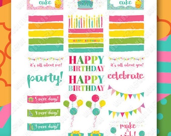 Birthday Planner Stickers for your Horizontal or Vertical Erin Condren Life Planner, Happy Planner, or any daily planner!