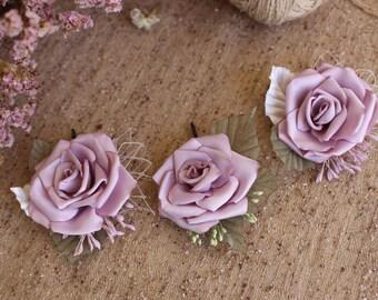 Roses hair bobby pin,dusty Rose Hair Piece,Blush wedding Hair Flower Rose,light purple flower bridal hair bobby pin,Woman girl Rose hair pin