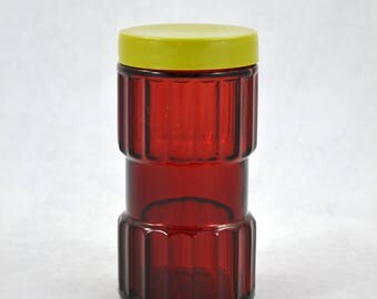 Vintage Ruby Red Jar By Wheaton New Jersey, Vintage Red Glass Jar