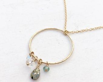 Charm Ring Necklace  |  Charm Pendant Necklace  |  Long Pendant Necklace