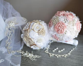 Wedding bouquet, Brooch bridal bouquet with handmade flower, bridal bouquet in vintage style