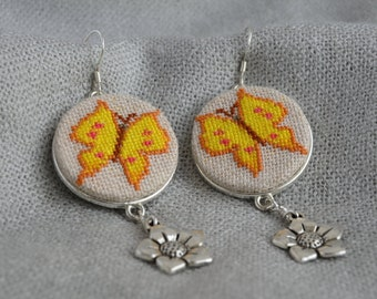Gift for her Butterfly earrings Yellow butterfly jewelry Embroidered earrings Yellow embroidered jewelry Charm flower Yellow jewelry gift