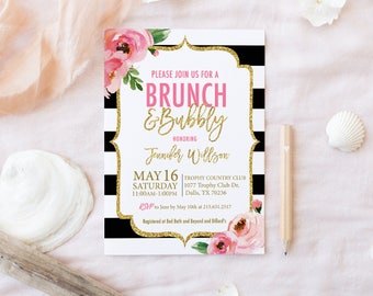 Kate Brunch And Bubbly Bridal Shower Invitation, PRINTED Spade Shower,  Bridal Brunch Invitations,
