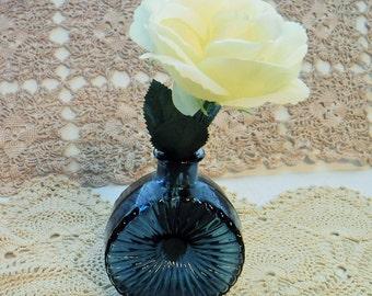 Pretty Blue Glass Vase, Unique Blue Vase, Petite Blue Vase,Blue Bud Vase, Round Vase, Round Blue Vase