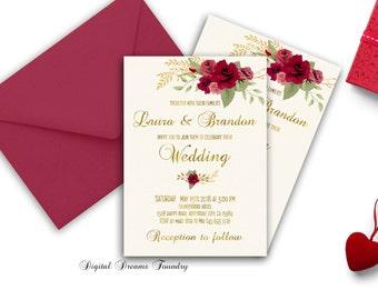Romantic Wedding Invitation, Floral Wedding , Printable Wedding Invitation Suite, Boho Wedding Invite, Red Roses Wedding Invite, Digital
