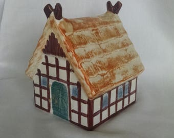 Goebel West Germany  Ceramic Thatch Roof House Bank
