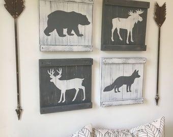 RUSTIC WOODLAND DECOR set of 4, rustic woodland animals, mountain house decor, cabin decor, woodland animal painting