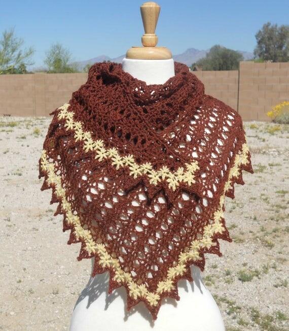 Deep Reddish Brown with Yellow Trim Wool Triangular Crocheted Shawl