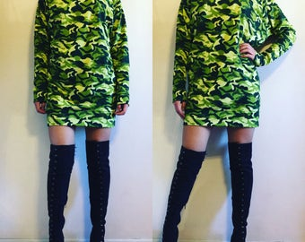 T-Shirt Hoodie Dress - Camoflauge & Solids / hoodie / hoodie dress / t-shirt dress / hoodie t-shirt dress / camo / camouflage / camo print