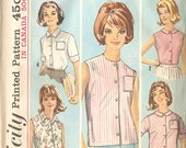 "Simplicity 5285 Misses' 60's Blouse Pattern - 5 Looks! - Size 14 Bust 34"" - Uncut & Factory Folded!"