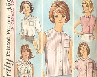 "Simplicity 5285 Misses' 60's Blouse Pattern - 5 Looks! - Size 14 Bust 34"" - Uncut & Factory Folded!"