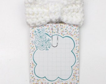 Planner Paperclip/Bookmark/Clip, White with Metallic Sparkles Crochet Bow     [014]