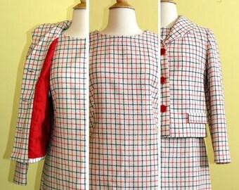 Jackie O Red, White & Blue Plaid Dress w/ Overcoat, S/M