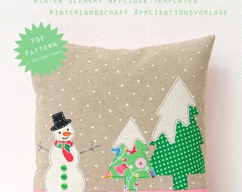 PDF Applique Template - Winter Scenery