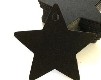 Black Kraft Tags with Strings /Gift Tags /Hang Tags/ Price Tags/ Wedding Name Tags/ Favor Tags/ Packaging Tags /Paper Tag / Star (6cm) 50pcs