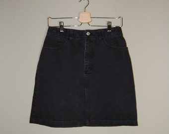 Vintage Black Denim Skirt