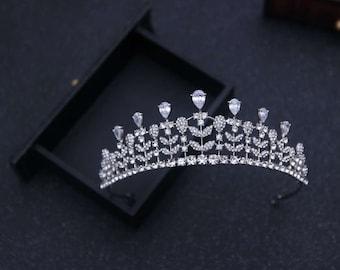 Cz Bridal Tiara Princess tiara Cubic zirconia tiara Crystal bridal crown Swarovski tiara CZ Crown Luxury wedding tiara Diamond Tiara Crown