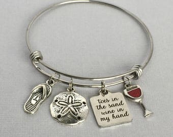Toes in the Sand Wine in my Hand, Beach Charm Bangle, Beach Bracelet, Wine Charm Bracelet, Beach Lover Jewelry, Wine Lover Gift, BCH001