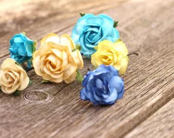 Yellow Cream Bridal Flower Pins - Spring Flower Headpiece - Turquoise Blue Rose Hair Pins - Navy Blue Bridal Flower Bobby Pins - Wedding