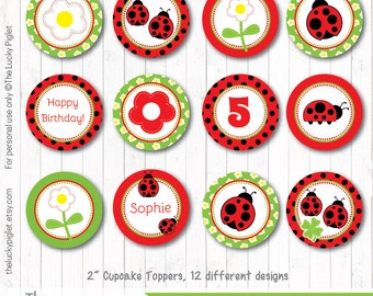 "LADYBUG PARTY CIRCLES, Cupcake Toppers 2"", Ladybug Decoration, Ladybug Party Printables - Instant Download, Edit Age in Adobe Reader"
