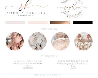 Rose Gold Logo Design,  Rose Gold Branding kit, Premade Branding Kit,Rose Gold  Business Card Design, Circle Logo, Stamp Logo, Calligraphy