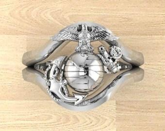 Beautiful Continuum Sterling Silver USMC Ring Ladies Design 7