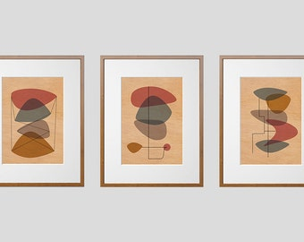 Set Of Three Mid-Century Modern Eames Style Prints | Wood Wall Art | Mahogany Wood |  A3 or 12 x 16 Inch | Free Shipping Worldwide