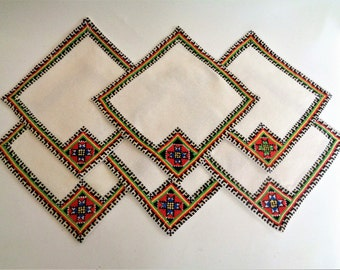 Hand embroidered coasters, Linen embroidered coasters, Cross Stitch, Set of 6, Bulgarian embroidery, Embroidered Place mats, Table Runners