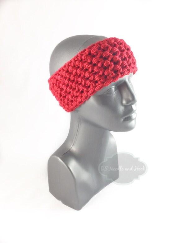 Red Crochet Headband, Chunky Scarlet Ear Warmer, Bright Red Head Wrap, Ruby Red Winter Headband, Head Warmer,
