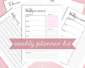 Weekly Planner Printable Weekly Planner Inserts, Weekly Schedule Printable, Weekly Planner Kit A5 Weekly Agenda US Letter Weekly Planner PDF
