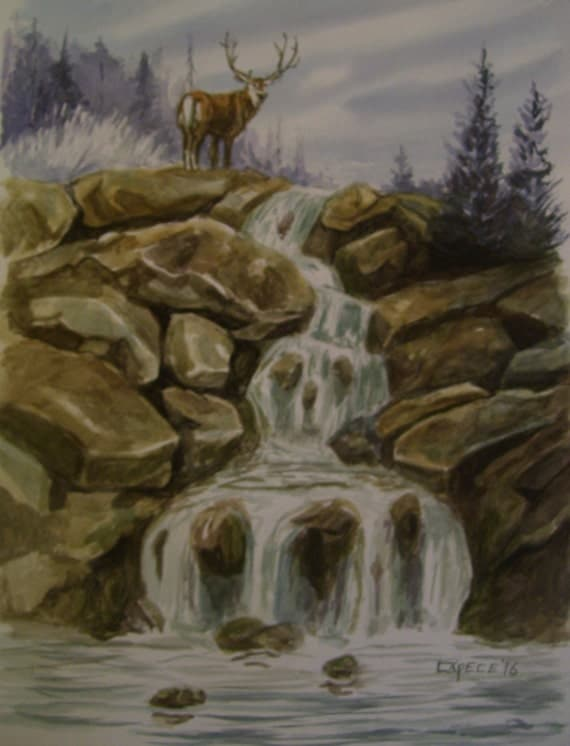 Bucks Falls,16x20 Original Watercolor,ONE OF A KIND, Not a Print,Free Shipping Code SKYE2