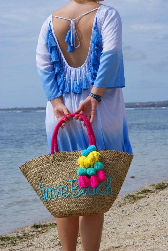 SALE Tassels trendy beach bag/Straw beach bag/Trendy straw