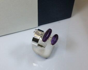 Designer ring 925 Amethyst vintage SR751