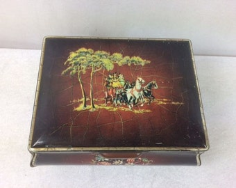 Vintage Horse And Carriage Tin Box Vintage Brown Flower Tin Storage Container Vintage Tin Canister