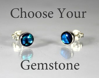 Gemstone Stud Earrings, Sterling Silver Semi Precious Gemstone Studs, Personalized Earrings, Gifts for Her, Birthday Gift Ideas