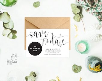 Black and white save the date, Wedding save the date cards, Save the date printable save the date, Rustic save the date, Wedding stationery