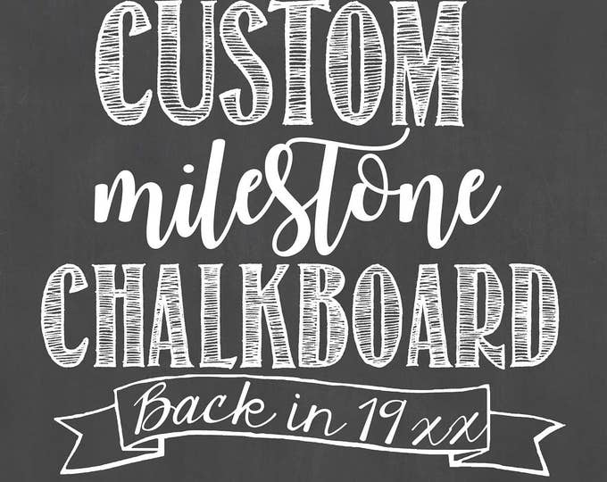 Custom Birthday Chalkboard/Custom Milestone Birthday Chalkboard/ Back In Birthday Board/Custom Chalkboard Design/Birthday Chalkboard/Digital