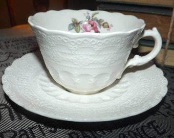 Vintage (c.1960s) Spode Billingsley Rose 2/8867 tea set (flat cup with matching saucer).  Pink roses, cream ware. Spode's Jewel.