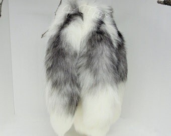 Arctic Marble Fox Tail Keychain