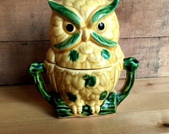 Owl Salt Shaker, Sugar Bowl, Vintage Ceramic, Royal Sealy, Japan, 1950s, Cinnamon/Sugar, Kitschy