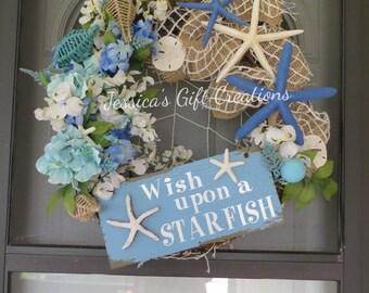 Ready to Ship Starfish Grapevine Wreath/Door Wreath/Front Door/Twig Wreath/Beach Decor/Nautical/Summer/Everyday/Year Round/Housewarming Gift