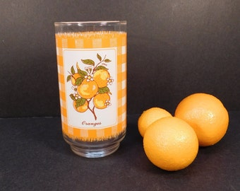 Vintage Plaid Checkered Orange Drinking Glass, Replacement Glass