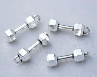 6 Pcs Barbell Charms Weight Lifting Charms Antique Silver Tone 3D 7x21mm - YD1210