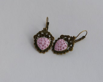 Heart Earrings with chatons
